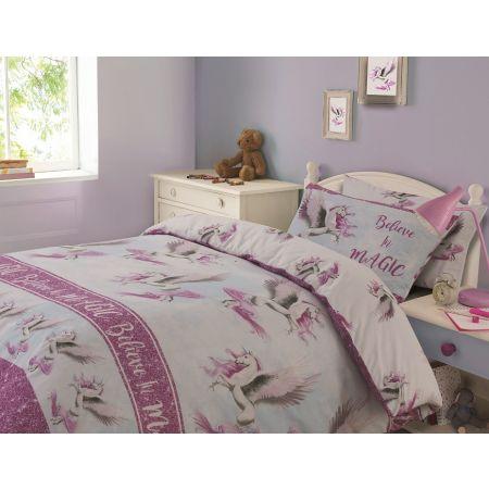 Dreamscene Flying Unicorn Duvet Cover Set - Pink