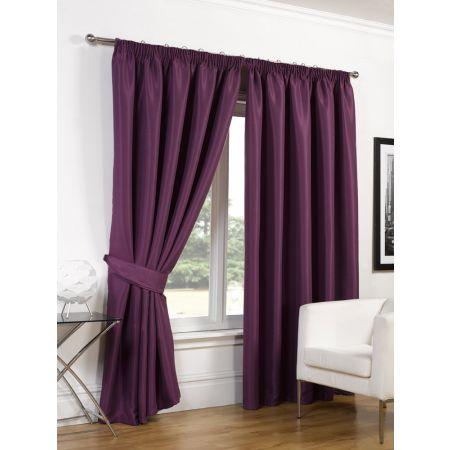 Faux Silk Blackout Curtains - Aubergine