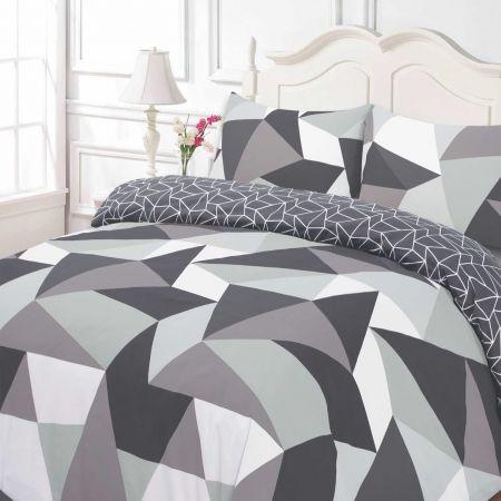 Dreamscene Shapes Duvet Cover Set - Black/Grey