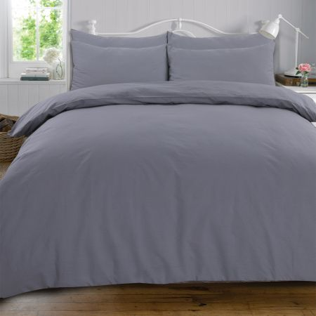 Highams 100% Cotton Plain Duvet Set - Grey