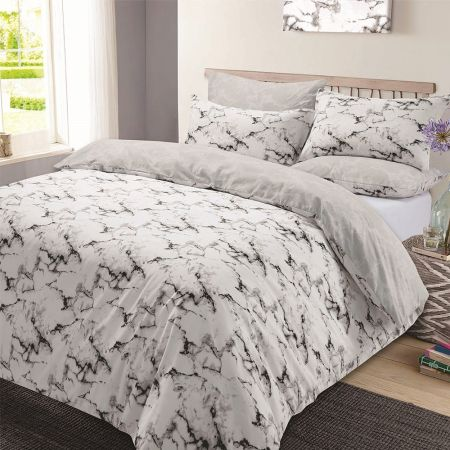 Dreamscene Grey Marble Duvet Cover Set
