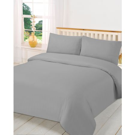 Brentfords Plain Duvet Cover Set - Grey