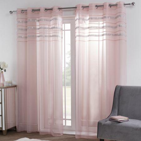 Sienna Latina Diamante Voile Net Curtains Eyelet, Blush Pink - 55