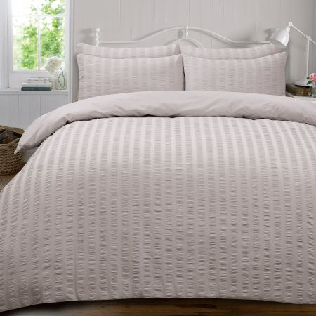 Highams Seersucker Duvet Set - Silver