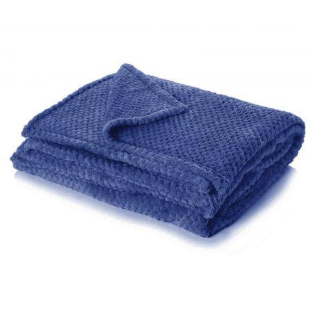 Textured Knit Throw - Navy