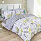Dreamscene Allium Floral Tartan Check Bedding Double Duvet Cover Set - Grey/White