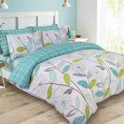 Dreamscene Allium Floral Tartan Check Bedding King Size Duvet Cover Set - Teal/Green
