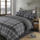 Dreamscene Aspen Brushed Cotton Check Tartan Duvet Cover Bedding Set - Grey - King
