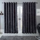 """Sienna Home Crushed Velvet Eyelet Curtains - Charcoal Grey 46"""" x 72"""""""
