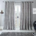 Sienna Home Crushed Velvet Eyelet Curtains - Silver