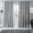 """Sienna Home Crushed Velvet Eyelet Curtains - Silver 66"""" x 54"""""""