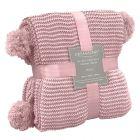 Dreamscene Large Chunky Knit Pom Pom Throw, Blush Pink - 150 x 180cm