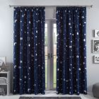Dreamscene Galaxy Star Blackout Pencil Pleat Curtains - Navy Blue
