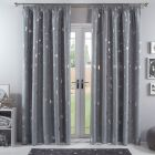 Dreamscene Galaxy Star Blackout Pencil Pleat Curtains - Silver Grey