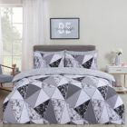 Dreamscene Marble Geometric Duvet Set - Charcoal