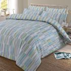 Dreamscene Ellipse Duvet Cover with Pillow Case Reversible Geometric Bedding Set, Teal Green Grey Silver - Double