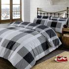 Dreamscene Wide Check Duvet Cover with Pillow Case Bedding Set, Argyle Tartan Black Grey - Single