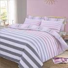 Dreamscene Premium Fade Stripe Duvet Single Set - Pink