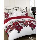 Dreamscene Pollyanna Floral Duvet Quilt Cover Bedding Set - Red - Single
