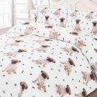 Pug Duvet Single Cover Set - White