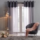 "Sienna Crushed Velvet Voile Curtains, Charcoal - 55"" x 87"""