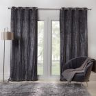 Sienna Home Valencia Crinkle Crushed Velvet Eyelet Curtains - Charcoal Grey