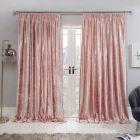 Sienna Crushed Velvet Pencil Pleat Curtains - Blush Pink
