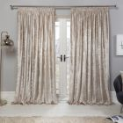 Sienna Crushed Velvet Pencil Pleat Curtains - Natural