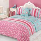 Verity Bed In A Bag Duvet Cover King Size Set - Pink Green